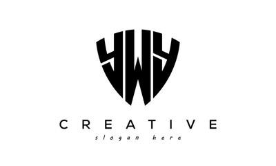 Fototapeta YWY letter creative logo with shield obraz