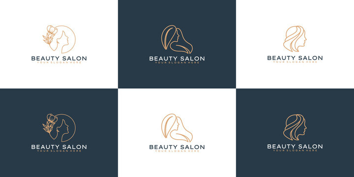 set of Elegant beauty woman logo design idea