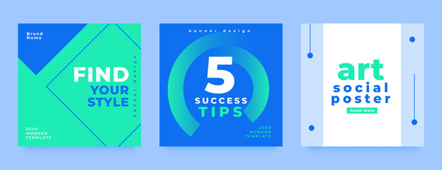 social media post collection in minimal style design