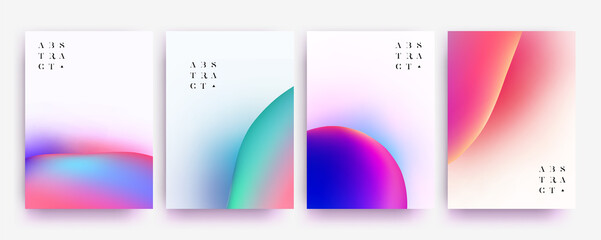 Minimalistic abstract background collection set with liquid colorful gradient shapes for poster or flyer or book cover or banner or package design. Vector illustration