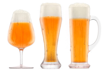 Obraz Set of fresh beer in different mugs with bubble froth isolated on white. - fototapety do salonu