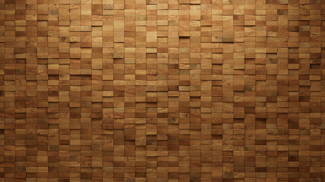 Timber, Wood Wall background with tiles. Natural, tile Wallpaper with 3D, Rectangular blocks. 3D Render