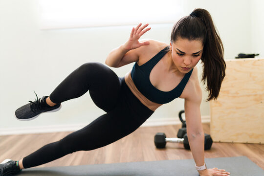 Young woman burning all the calories with exercise