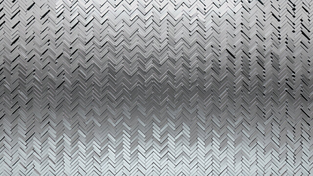 Polished, 3D Wall background with tiles. Herringbone, tile Wallpaper with Luxurious, Silver blocks. 3D Render