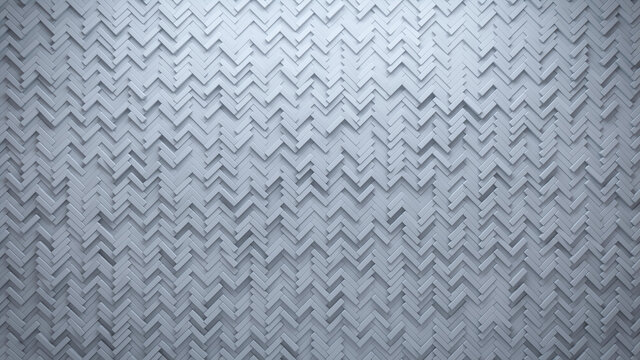 Futuristic, 3D Wall background with tiles. Polished, tile Wallpaper with White, Herringbone blocks. 3D Render