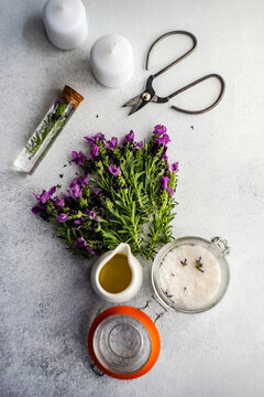 Ingredients for making fresh lavender oil for a spa treatment