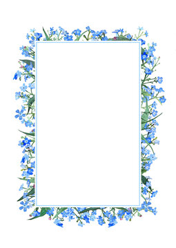 Frame with blue forget-me-nots on a white background. For invitations and postcards. Watercolor illustration
