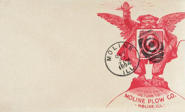 Briefmarke stamp gestempelt frankiert cancel vintage retro alt old 1894 used gebraucht rot red werbung advertisement moline illinois halloween october envelope briefumschlag wings flügel engel angel