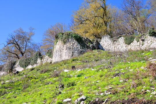 Wall of the Anakopia fortress. New Athos, Abkhazia