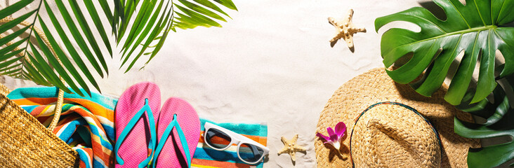 Beach accessories on the summer sands