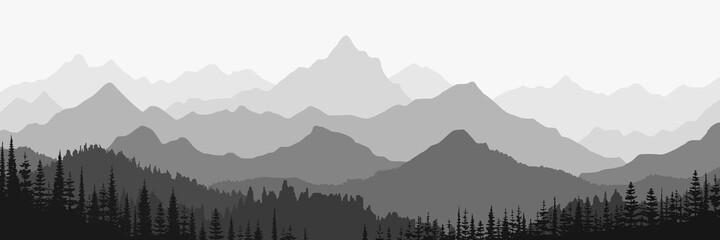 Fototapeta Black and white landscape, panorama of mountains in the morning haze obraz
