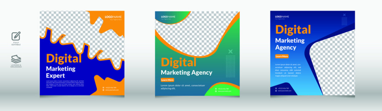 Corporate  marketing agency banner for social media post, marketing, business proposal, promotion, advertise, publication, cover page. digital marketing agency flyer design.