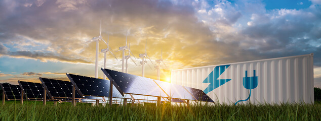 solar cell plant and wind generators in urban area connected to smart grid.Energy supply,eolic...