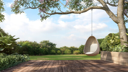 Obraz Old wooden terrace with wicker swing hang on the tree with blurry nature background 3d render. - fototapety do salonu
