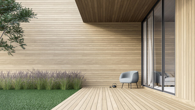Minimal style wooden terrace with green lawn 3d render,There are empty wood plank wall,decorate with modern gray chair.