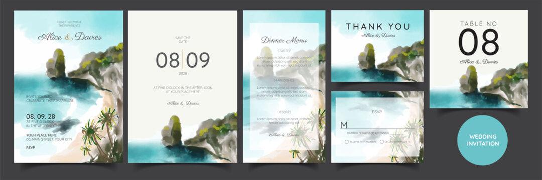 wedding invitation card, beach panorama, watercolor