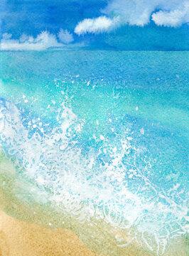 watercolor sandy beach