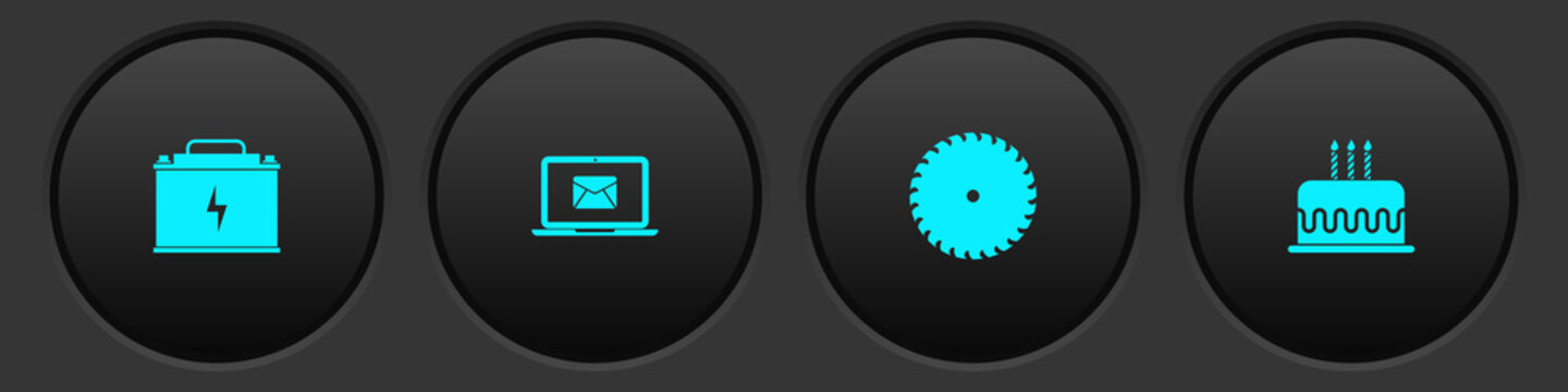 Set Car battery, Laptop with envelope, Circular saw blade and Cake burning candles icon. Vector