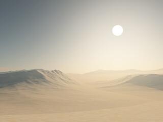 Fototapeta 3D desert landscape with sand dunes obraz