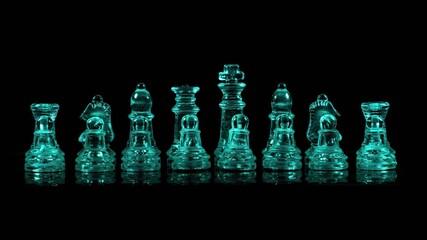 Obraz Szklane figury szachowe podświetlone światłem rgb makro - fototapety do salonu