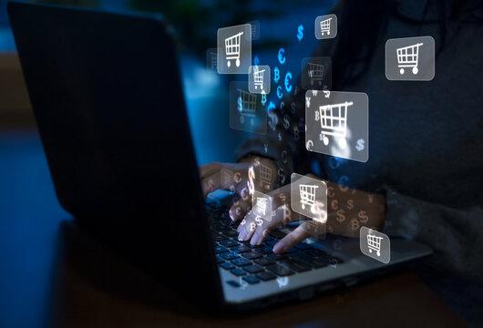 Business women use laptops Online shopping ideas