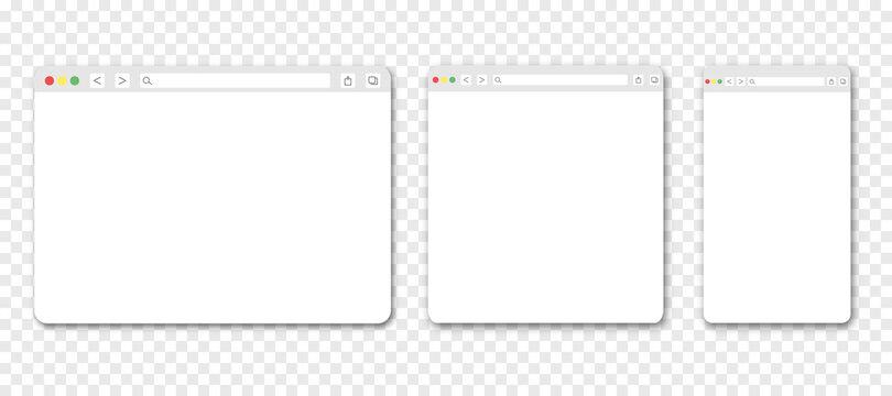 Set of web browser windows. Blank template. Website template design. Mockup for web site design. Vector illustration isolated on transparent background