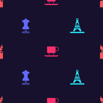Set Eiffel tower, Mannequin, Coffee cup and Woman dress on seamless pattern. Vector