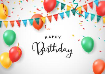 Fototapeta Happy Birthday celebration with decorative design isolated white background. Colorful balloons. Vector illustration obraz