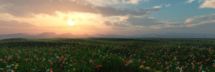 blooming meadow at sunset, sunrise over flowers, 3d rendering