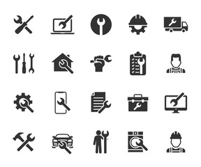 Obraz Vector set of repair flat icons. Contains icons device repair, technical support, engineer, tool kit, home repair, maintenance, list works and more. Pixel perfect. - fototapety do salonu