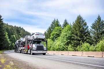 Fototapeta White powerful car hauler big rig semi truck transporting cars on two semi trailers running on the green forest highway road obraz