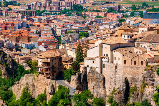 Aerial view of famous old Hanging Houses of Cuenca, Spain