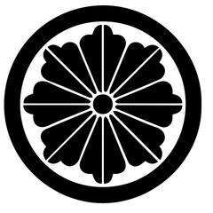 japanese ancient symbol . ancient decorative ornament . kamon crest .
