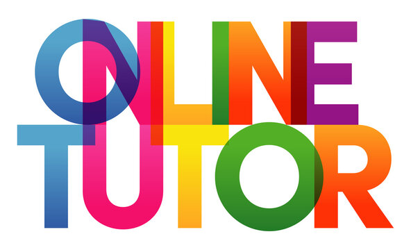 Online Tutor word vector illustration. Colored rainbow text. Vector banner. Corporate concept. Gradient Text. Transparency Letters. Vector illustration. Vector illustration