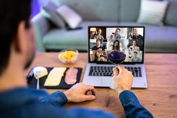 Fototapeta Virtual Wine Tasting Dinner Event Online obraz
