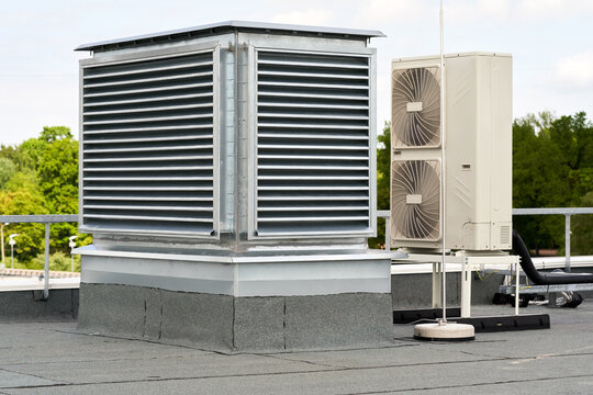 The external units air conditioning and ventilation systems installed on the flat roof