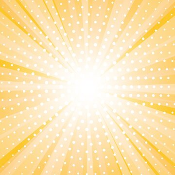 Abstract yellow background with sun ray and dots