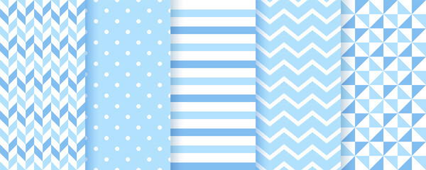 Baby backgrounds. Blue seamless patterns. Baby boy geometric textures. Vector. Set of kids pastel textile prints. Cute childish backdrop with polka dots, zigzag and stripes. Modern illustration.