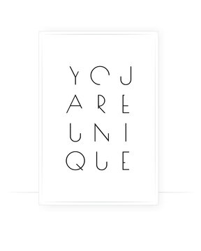 You are unique, vector. Positive thought, affirmation. Motivational, inspirational life quotes. Minimalist poster design in frame. Modern wall art, artwork. Wording design, lettering