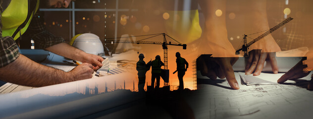 Double exposure of civil engineer silhouette at construction site with building designer working...