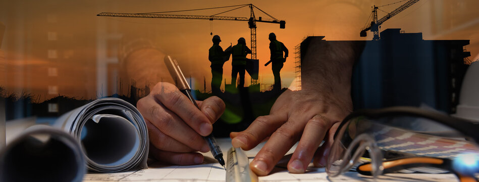 Double exposure of civil engineer silhouette at construction site with building designer working at night in banner site