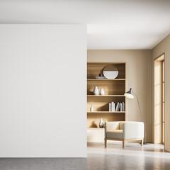 Obraz Beige living room interior with armchair and bookshelf near window, mockup - fototapety do salonu