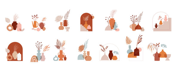 Fototapeta Abstract bohemian art aesthetic design. Arrangements of pottery and ceramic pots, vases with dry leafs, plants, flowers.  obraz