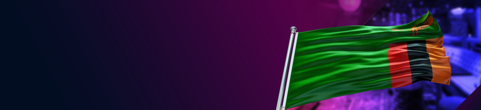 Zambia Flag with Night Club and large Gradient Single Flag