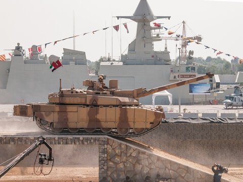 Abu Dhabi, UAE - Feb.20.2013: UAE (United Arab Emirates) Armed forces Leclerc MBT (Main Battle Tank) at IDEX 2013 military exibition