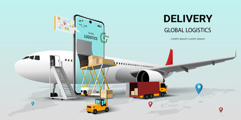 Fototapeta Online delivery service on mobile, Global logistic, transportation. Air freight logistics. Online order. airplane, warehouse and parcel box. 3D Perspective Vector illustration obraz