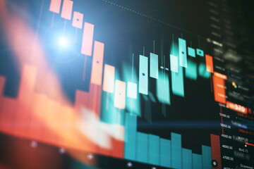 Obraz Data analyzing from charts and graph to find out the result in trading market. - fototapety do salonu
