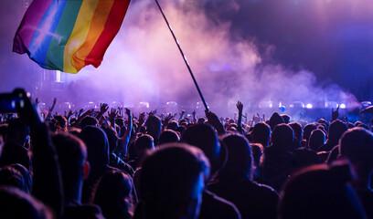 Fototapeta Gay parade with LGBT flag. obraz