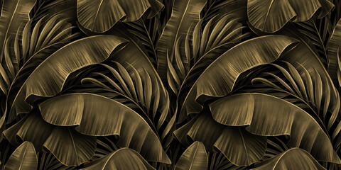 Obraz Tropical exotic seamless pattern. Grunge golden banana leaves, palm. Hand-drawn dark vintage 3D illustration. Nature abstract background design. Good for luxury wallpapers, cloth, fabric printing. - fototapety do salonu