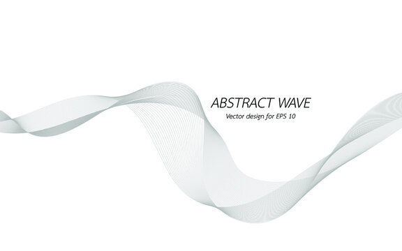 Abstract wave design geometric pattern. Background digital technology line frequency, smooth stripe, color tone white gray and black. Graphic element concept with copy space, crypto currency. Vector.